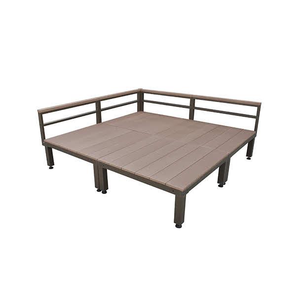 ウッドデッキ 人工木 ローフェンス付きタイプ 4点セット 1.0坪 ブラウン