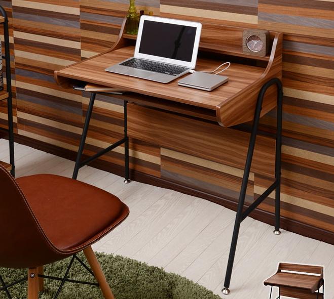 デスク 幅78.5cm マッシュ MUSH 奥行50cm 木製天板 パソコンデスク 勉強机 オープン棚 学習デスク コンソール PCデスク 書斎机 ブラックスチールパイプ レトロ 作業机 作業テーブル
