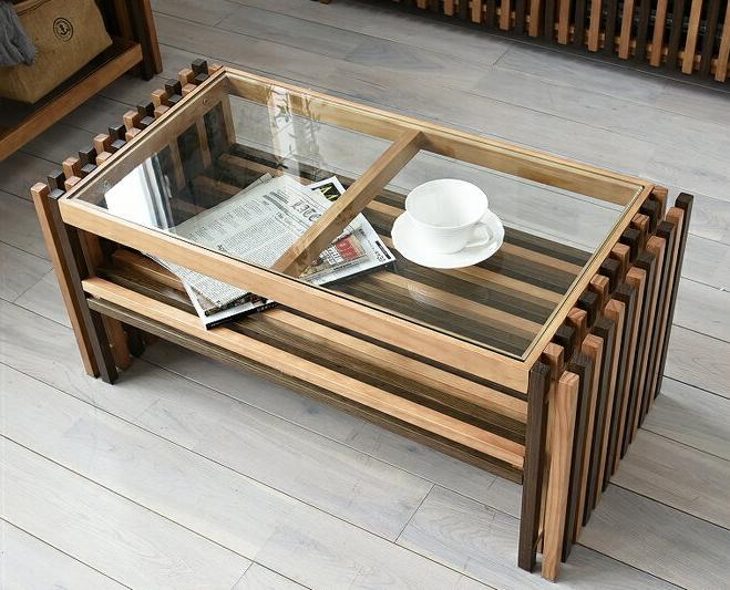 センターテーブル 幅85cm 収納付き おしゃれ 天然木 ローテーブル リビングテーブル ガラス天板 棚付き 木製 格子デザイン 植物性オイル塗装 ナチュラル モダンデザイン 和モダン 和風モダン 和風インテリア