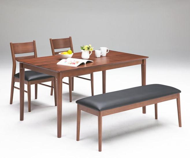 木製ダイニング4点セット テーブル幅135cm ブラウン シンプルモダン 天然木ウォールナット無垢材 ラバーウッド ダイニングテーブル ダイニングチェア2脚 ダイニングベンチ 食卓用テーブル 食事用テーブル 食卓椅子 食卓用ベンチ モダンデザイン 大人インテリア