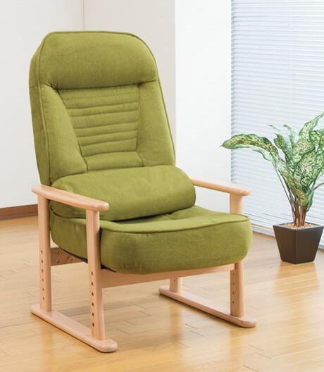 天然木使用リクライニング高座椅子 クッション付き 低反発座椅子 肘掛け付き シンプル ナチュラル 5段階リクライニングチェア 高さ調節可能 完成品 組立不要 折りたたみ式座椅子 折り畳み座椅子 折りたたみ式チェア 折り畳みチェア コンパクト収納 省スペース