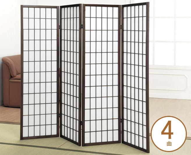 障子スクリーン 4曲 ミドルタイプ 障子風スクリーン 和風スクリーン 折りたたみ式スクリーン コンパクト収納 隙間収納 天然木フレーム 不織布 間仕切り 目隠し 高さ148.5cm 和風インテリア