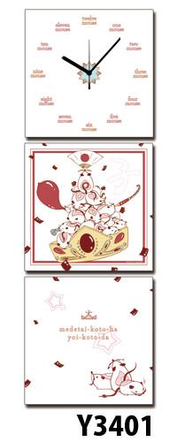 【代引不可/】日本初!300種類以上のデザインから選ぶパネルクロック◆3枚のアートパネルの壁掛け時計◆hOur DesignY3401【Toru Touri】【桃李透】【desginer】 送料無料