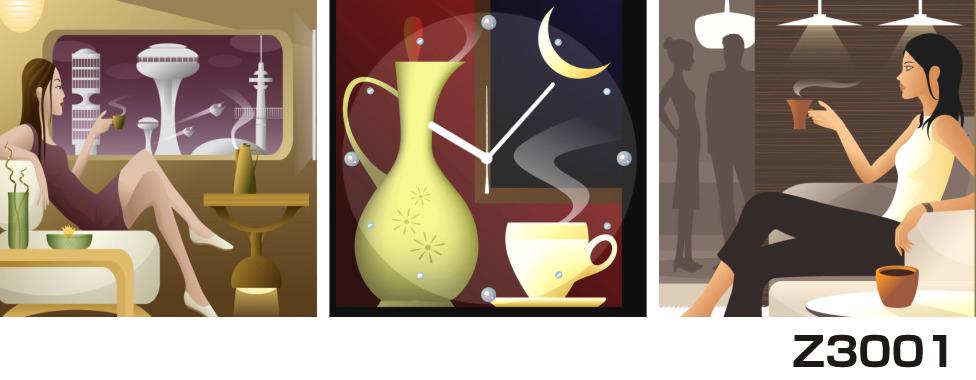 日本初!300種類以上のデザインから選ぶパネルクロック◆3枚のアートパネルの壁掛け時計◆hOur DesignZ3001女性 カップ【アート】【イラスト】【代引不可】 送料無料