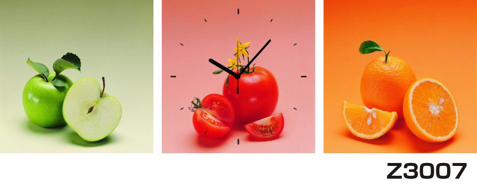 日本初!300種類以上のデザインから選ぶパネルクロック◆3枚のアートパネルの壁掛け時計◆hOur DesignZ3007青リンゴ トマト オレンジ【フード】【代引不可】 送料無料
