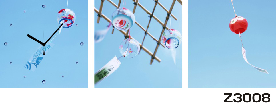 日本初!300種類以上のデザインから選ぶパネルクロック◆3枚のアートパネルの壁掛け時計◆hOur DesignZ3008風鈴【風景】【海・空】【アジア】【代引不可】 送料無料