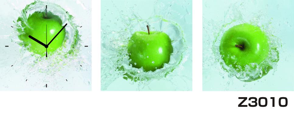 日本初!300種類以上のデザインから選ぶパネルクロック◆3枚のアートパネルの壁掛け時計◆hOur DesignZ3010青リンゴ【フード】【代引不可】 送料無料
