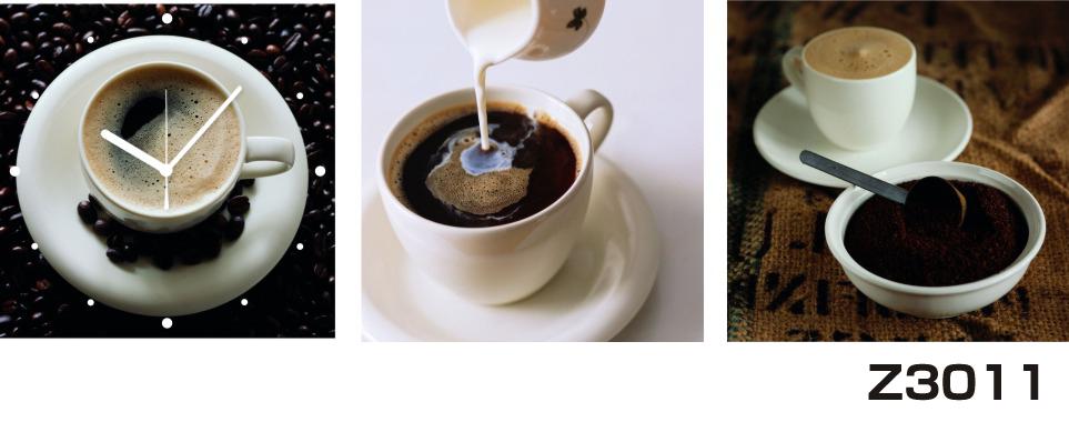 日本初!300種類以上のデザインから選ぶパネルクロック◆3枚のアートパネルの壁掛け時計◆hOur DesignZ3011コーヒー カップ【フード】【代引不可】 送料無料