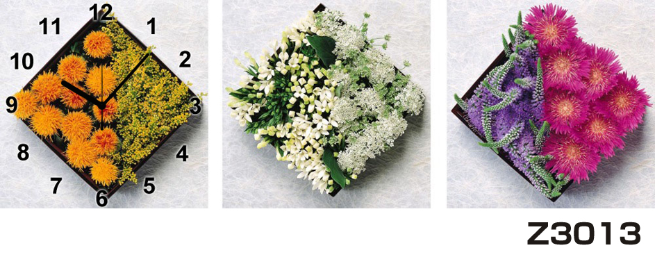 日本初!300種類以上のデザインから選ぶパネルクロック◆3枚のアートパネルの壁掛け時計◆hOur DesignZ3013【花】【代引不可】 送料無料