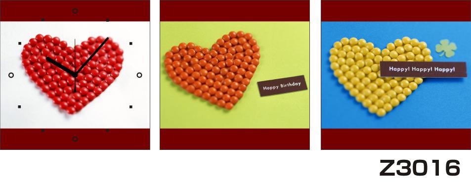 日本初!300種類以上のデザインから選ぶパネルクロック◆3枚のアートパネルの壁掛け時計◆hOur DesignZ3016ハッピー ハート【アート】【代引不可】 送料無料