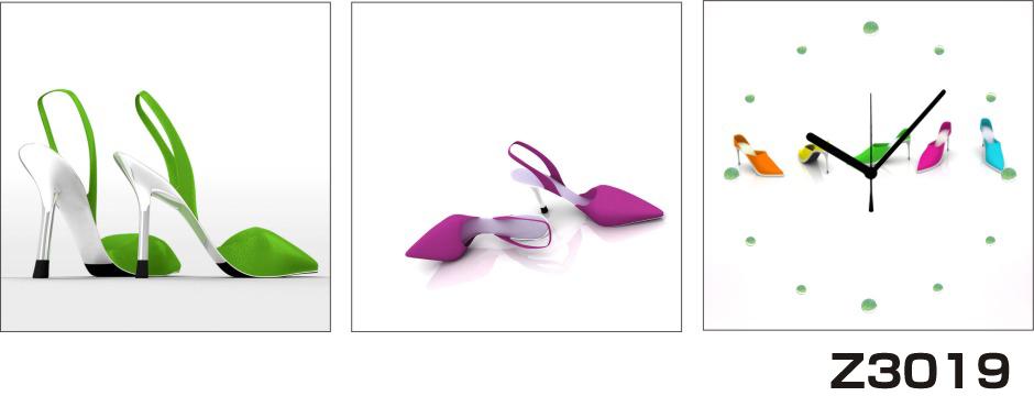 日本初!300種類以上のデザインから選ぶパネルクロック◆3枚のアートパネルの壁掛け時計◆hOur DesignZ3019ハイヒール【アート】【イラスト】【代引不可】 送料無料