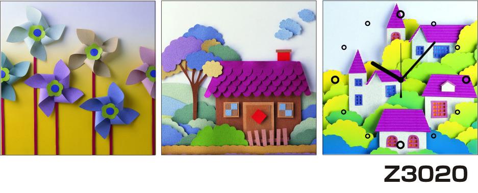 日本初!300種類以上のデザインから選ぶパネルクロック◆3枚のアートパネルの壁掛け時計◆hOur DesignZ3020風車 家 折り紙【アート】【風景】【代引不可】 送料無料