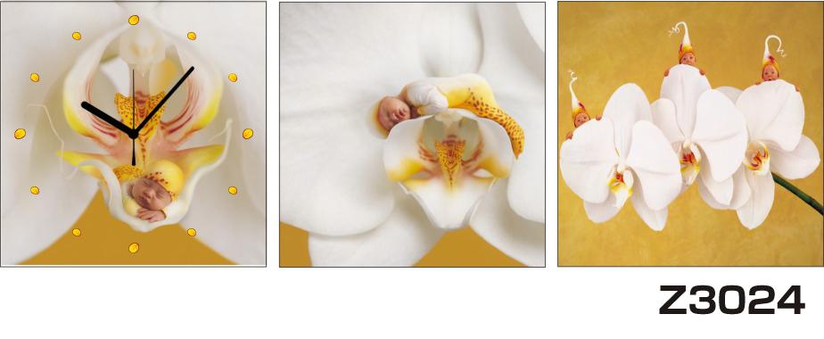 \クーポンで300円OFF★16日1:59まで★/ 日本初!300種類以上のデザインから選ぶパネルクロック◆3枚のアートパネルの壁掛け時計◆hOur DesignZ3024胡蝶蘭【花】【代引不可】 送料無料
