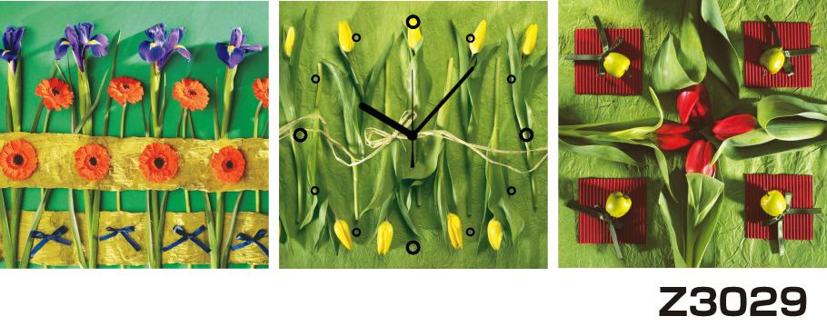 日本初!300種類以上のデザインから選ぶパネルクロック◆3枚のアートパネルの壁掛け時計◆hOur DesignZ3029あやめ【花】【代引不可】 送料無料