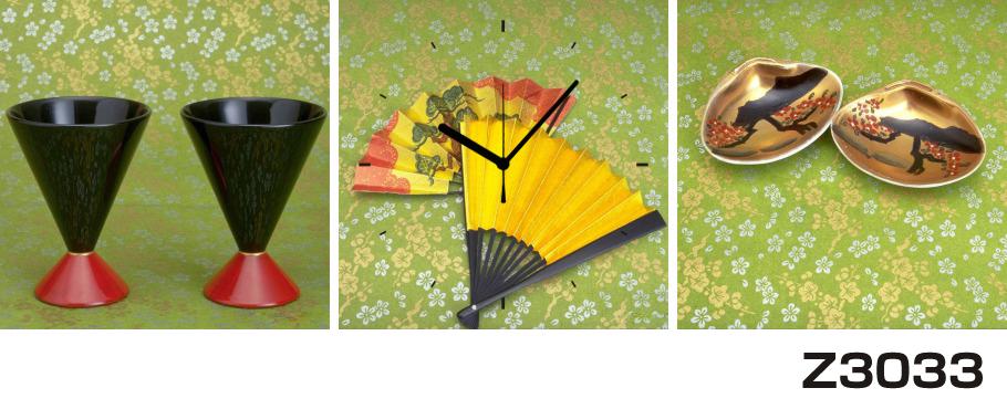 日本初!300種類以上のデザインから選ぶパネルクロック◆3枚のアートパネルの壁掛け時計◆hOur DesignZ3033和風【アジア】【代引不可】 送料無料