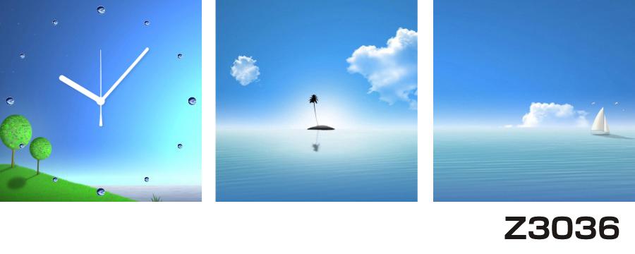 日本初!300種類以上のデザインから選ぶパネルクロック◆3枚のアートパネルの壁掛け時計◆hOur DesignZ3036島 ヨット【海・空】【イラスト】【風景】【代引不可】 送料無料