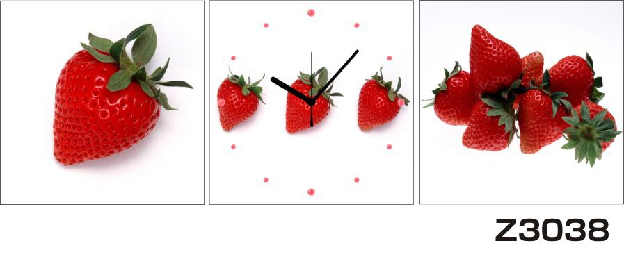 日本初!300種類以上のデザインから選ぶパネルクロック◆3枚のアートパネルの壁掛け時計◆hOur DesignZ3038イチゴ【フード】【代引不可】 送料無料