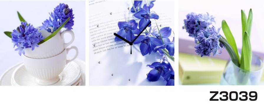 日本初!300種類以上のデザインから選ぶパネルクロック◆3枚のアートパネルの壁掛け時計◆hOur DesignZ3039青い花【花】【代引不可】 送料無料