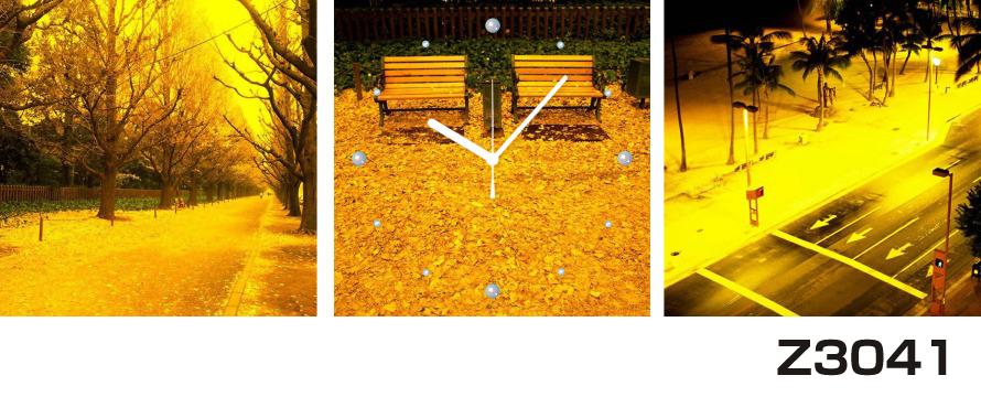 日本初!300種類以上のデザインから選ぶパネルクロック◆3枚のアートパネルの壁掛け時計◆hOur DesignZ3041落ち葉【アート】【風景】【代引不可】 送料無料
