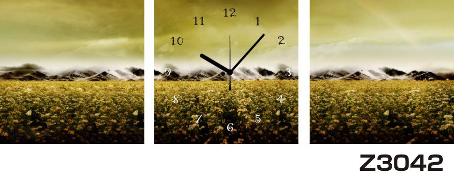 日本初!300種類以上のデザインから選ぶパネルクロック◆3枚のアートパネルの壁掛け時計◆hOur DesignZ3042山 花畑【風景】【海・空】【アート】【自然】【代引不可】 送料無料