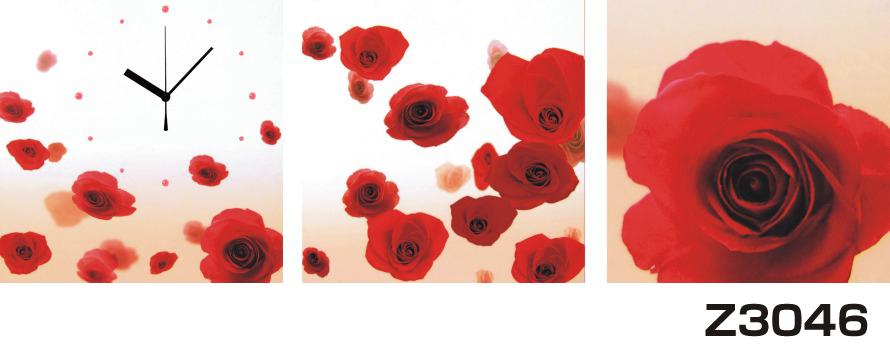 日本初!300種類以上のデザインから選ぶパネルクロック◆3枚のアートパネルの壁掛け時計◆hOur DesignZ3046薔薇【花】【アート】【代引不可】 送料無料