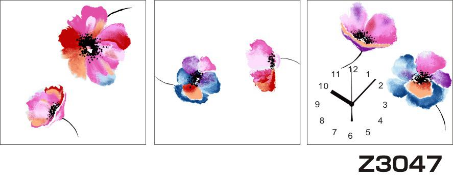 日本初!300種類以上のデザインから選ぶパネルクロック◆3枚のアートパネルの壁掛け時計◆hOur DesignZ3047パンジー【花】【アート】【代引不可】 送料無料