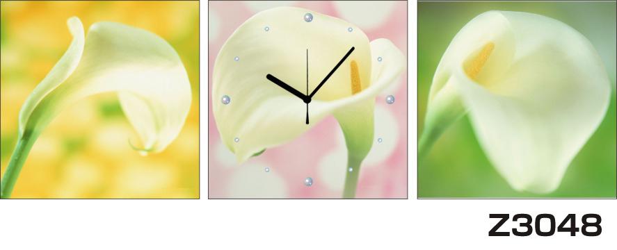 日本初!300種類以上のデザインから選ぶパネルクロック◆3枚のアートパネルの壁掛け時計◆hOur DesignZ3048カラー オランダ海芋【花】【代引不可】 送料無料