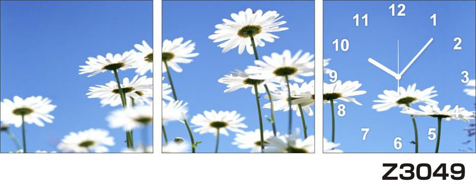 日本初!300種類以上のデザインから選ぶパネルクロック◆3枚のアートパネルの壁掛け時計◆hOur DesignZ3049マーガレット【花】【代引不可】 送料無料