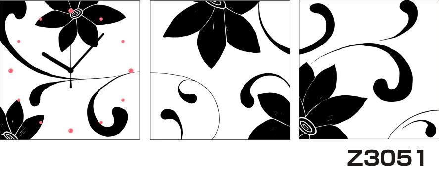 日本初!300種類以上のデザインから選ぶパネルクロック◆3枚のアートパネルの壁掛け時計◆hOur DesignZ3051モノクローム【花】【アート】【代引不可】 送料無料