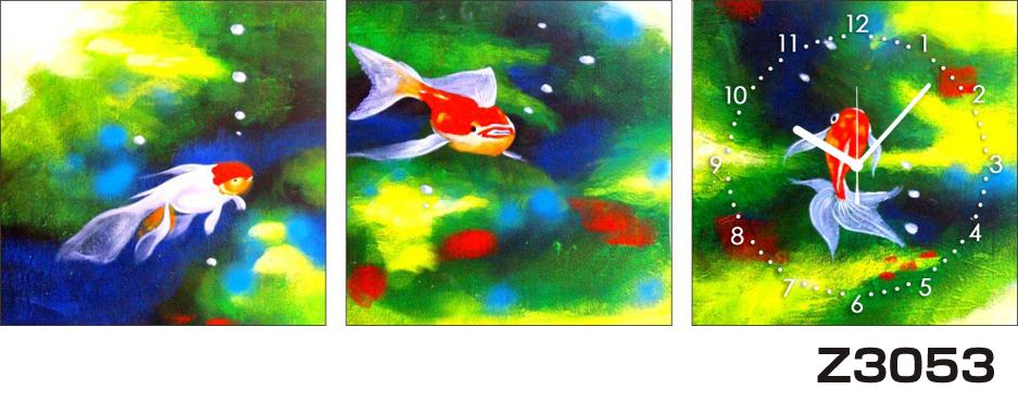 日本初!300種類以上のデザインから選ぶパネルクロック◆3枚のアートパネルの壁掛け時計◆hOur DesignZ3053金魚 【アート】【アジア】【代引不可】 送料無料