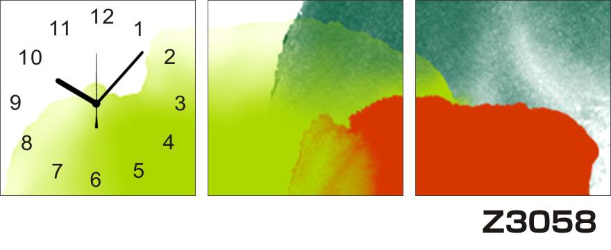 日本初!300種類以上のデザインから選ぶパネルクロック◆3枚のアートパネルの壁掛け時計◆hOur DesignZ3058赤 黄緑【アート】【代引不可】 送料無料