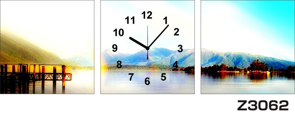 日本初!300種類以上のデザインから選ぶパネルクロック◆3枚のアートパネルの壁掛け時計◆hOur DesignZ3062山 湖【風景】【海・空】【自然】【代引不可】 送料無料