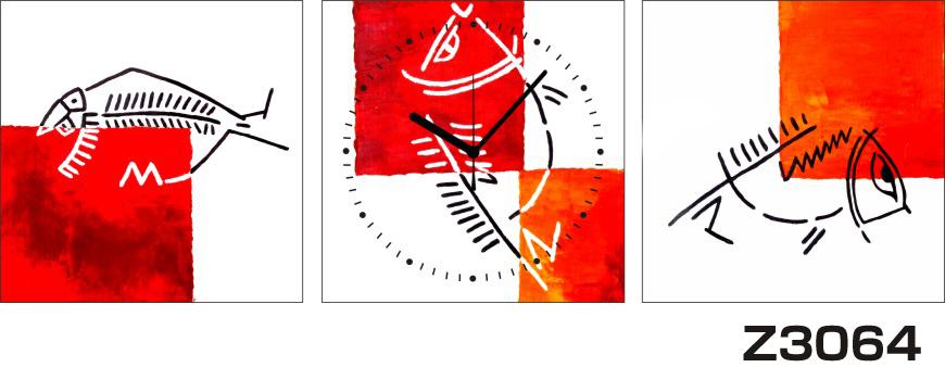 \クーポンで300円OFF★16日1:59まで★/ 日本初!300種類以上のデザインから選ぶパネルクロック◆3枚のアートパネルの壁掛け時計◆hOur DesignZ3064魚【アート】【代引不可】 送料無料