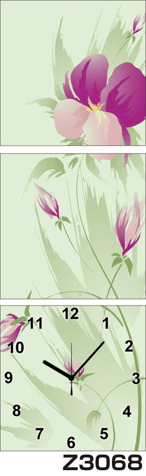 日本初!300種類以上のデザインから選ぶパネルクロック◆3枚のアートパネルの壁掛け時計◆hOur DesignZ3068【アート】【花】【代引不可】 送料無料