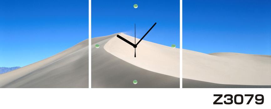 日本初!300種類以上のデザインから選ぶパネルクロック◆3枚のアートパネルの壁掛け時計◆hOur DesignZ3079砂丘【風景】【海・空】【自然】【代引不可】 送料無料