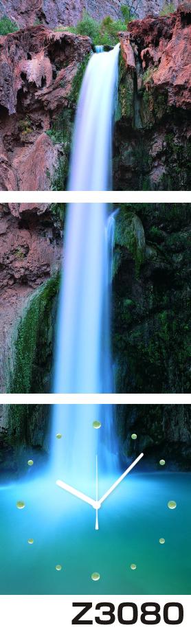 日本初!300種類以上のデザインから選ぶパネルクロック◆3枚のアートパネルの壁掛け時計◆hOur DesignZ3080滝【風景】【自然】【代引不可】 送料無料