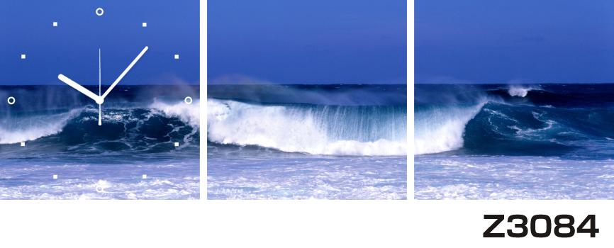 日本初!300種類以上のデザインから選ぶパネルクロック◆3枚のアートパネルの壁掛け時計◆hOur DesignZ3084波【風景】【海・空】【自然】【代引不可】 送料無料