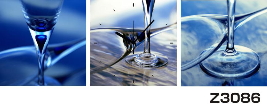 日本初!300種類以上のデザインから選ぶパネルクロック◆3枚のアートパネルの壁掛け時計◆hOur DesignZ3086グラス 青【アート】【代引不可】 送料無料