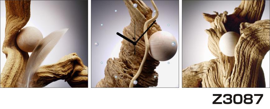 日本初!300種類以上のデザインから選ぶパネルクロック◆3枚のアートパネルの壁掛け時計◆hOur DesignZ3087幹 羽 球体【アート】【代引不可】 送料無料