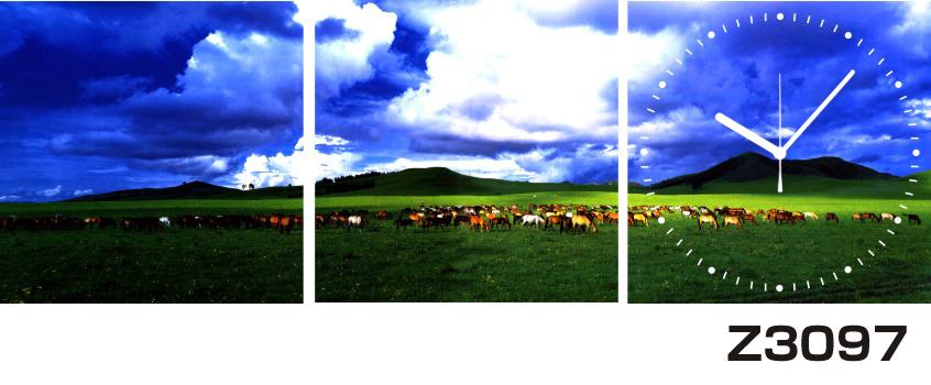 日本初!300種類以上のデザインから選ぶパネルクロック◆3枚のアートパネルの壁掛け時計◆hOur DesignZ3097動物 群れ【風景】【海・空】【自然】【代引不可】 送料無料