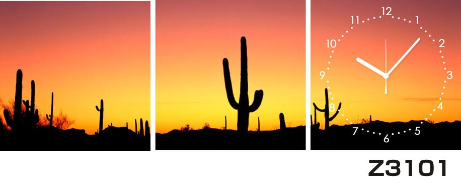 日本初!300種類以上のデザインから選ぶパネルクロック◆3枚のアートパネルの壁掛け時計◆hOur DesignZ3101サボテン 夕日【風景】【海・空】【自然】【代引不可】 送料無料