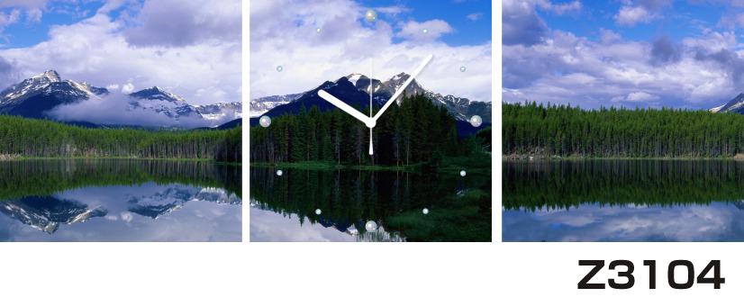 日本初!300種類以上のデザインから選ぶパネルクロック◆3枚のアートパネルの壁掛け時計◆hOur DesignZ3104湖 山【風景】【海・空】【自然】【代引不可】 送料無料
