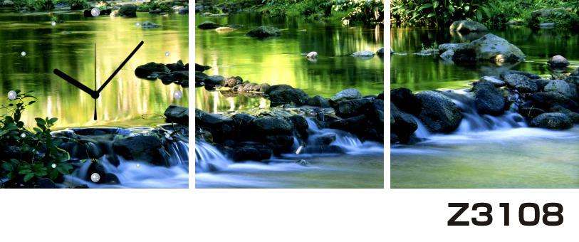 日本初!300種類以上のデザインから選ぶパネルクロック◆3枚のアートパネルの壁掛け時計◆hOur DesignZ3108川 森【風景】【自然】【代引不可】 送料無料