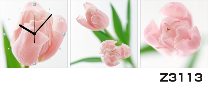 日本初!300種類以上のデザインから選ぶパネルクロック◆3枚のアートパネルの壁掛け時計◆hOur DesignZ3113チューリップ【花】【代引不可】 送料無料