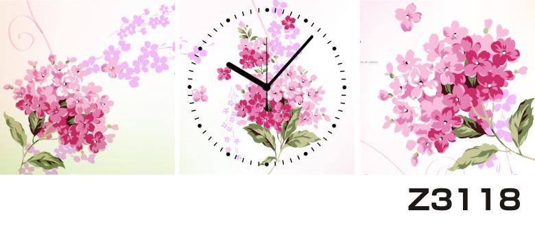 日本初!300種類以上のデザインから選ぶパネルクロック◆3枚のアートパネルの壁掛け時計◆hOur DesignZ3118ピンク【花】【アート】【代引不可】 送料無料