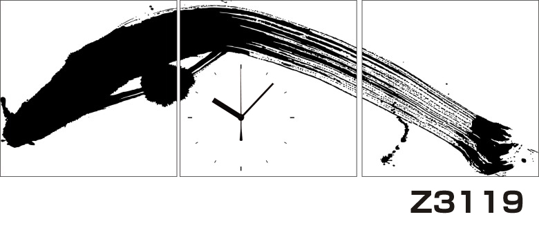 日本初!300種類以上のデザインから選ぶパネルクロック◆3枚のアートパネルの壁掛け時計◆hOur DesignZ3119毛筆【アジア】【代引不可】 送料無料
