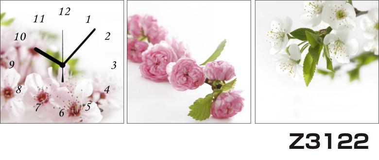 日本初!300種類以上のデザインから選ぶパネルクロック◆3枚のアートパネルの壁掛け時計◆hOur DesignZ3122【花】【代引不可】 送料無料