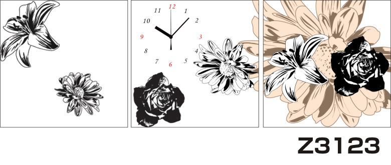 日本初!300種類以上のデザインから選ぶパネルクロック◆3枚のアートパネルの壁掛け時計◆hOur DesignZ3123ゆり【イラスト】【花】【代引不可】 送料無料