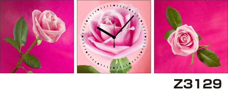 日本初!300種類以上のデザインから選ぶパネルクロック◆3枚のアートパネルの壁掛け時計◆hOur DesignZ3129薔薇【アート】【花】【代引不可】 送料無料