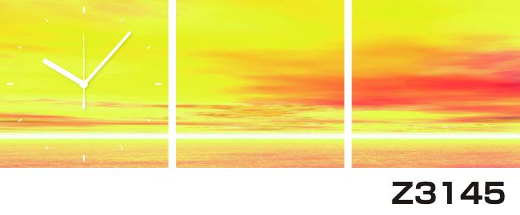 日本初!300種類以上のデザインから選ぶパネルクロック◆3枚のアートパネルの壁掛け時計◆hOur DesignZ3145夕焼け【海・空】【代引不可】 送料無料
